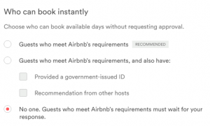 Airbnb instant book settings